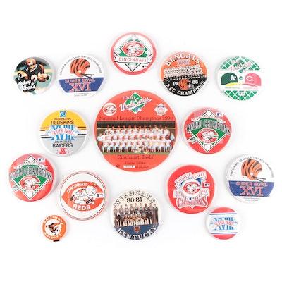 Cincinnati Reds and Cincinnati Bengals Pin Backs Including World Champions Pins