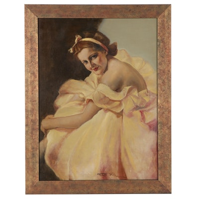 "Pál Fried Oil Painting ""Nicole,"" Circa 1960"
