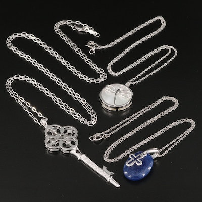 Sterling Mother of Pearl, Diamond and Quench Crackled Quartz Pendant Necklaces