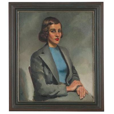 """Marcel Dyf Portrait Oil Painting """"L'inconnue d'Arles,"""" Circa 1930"""