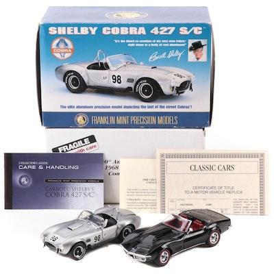 Franklin Mint 1:24 Shelby Cobra 427 S/C and Danbury Mint 1968 Corvette