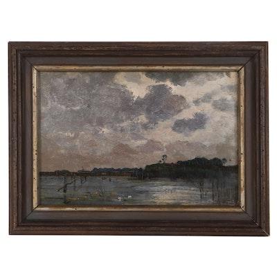 Hendrik Willebrord Jansen Oil Painting of Lake, Late 19th Century
