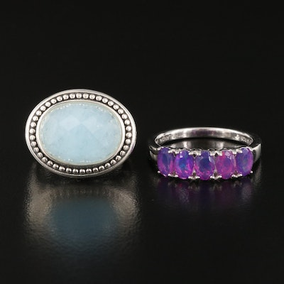 Sterling Silver Aquamarine and Opal Rings Including SeidenGang