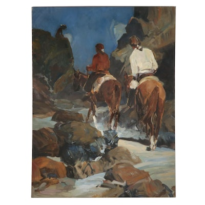 Horseback Riders on Mountain Path Oil Painting, Mid to Late 20th Century