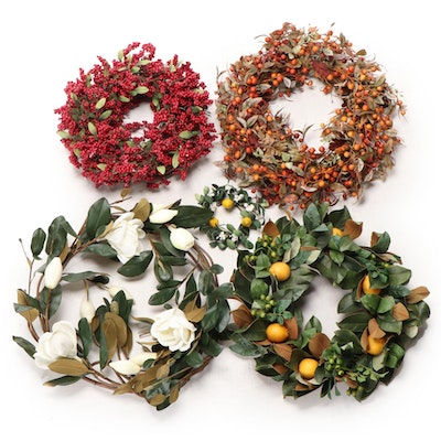 Winward and Other Faux Floral and Fruit Wreaths