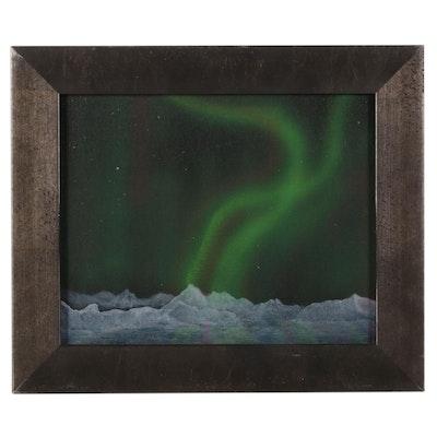 "Sandra Johnson Airbrush and Acrylic Painting ""Aurora Borealis,"" 2020"