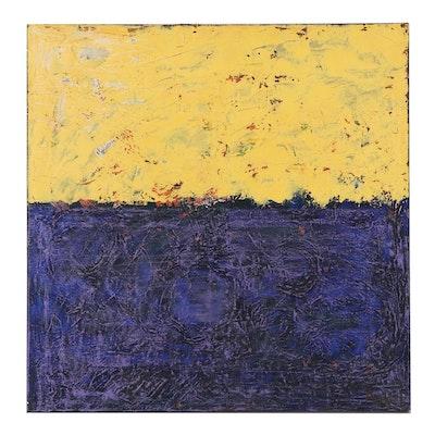 """Cassandra Linnea Auker Oil Painting """"Yellow & Purple Abstract,"""" 2021"""