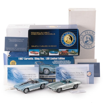 Franklin Mint Limited Edition 1:24 Chevy 1966 and 1967 Stingray Convertibles
