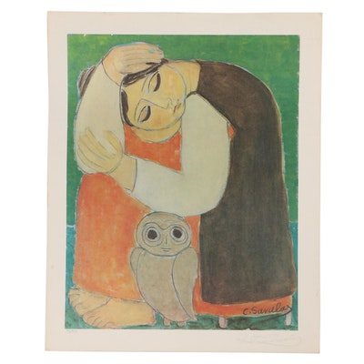 Christina Savalas Offset Lithograph of Woman and Owl, Late 20th Century