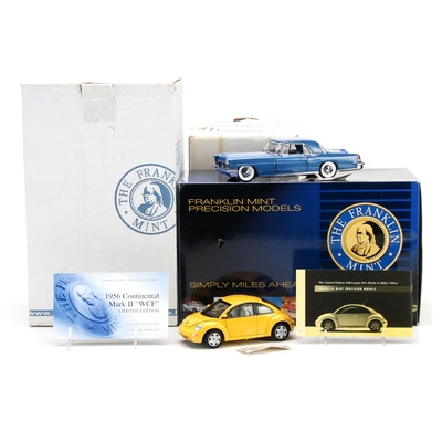 Franklin Mint Limited Edition 1:24 1956 Lincoln Continental and New Beetle