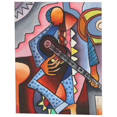"Taofeek Olalekan Oil Painting ""Solo Musician"""