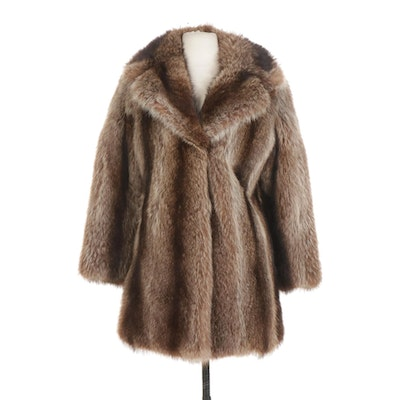 Full-Skin Raccoon Fur Stroller Coat with Wide Notched Collar