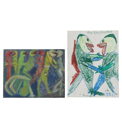 """Janice Schuler Abstract Pastel Drawings """"The Dance"""" and """"Friends"""""""