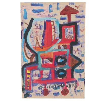 Robert Wright Folk Art Acrylic Painting