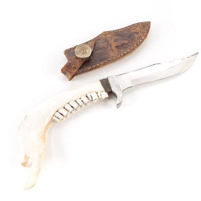 Pakistan Stainless Steel Jawbone Knife with Remington Leather Sheath