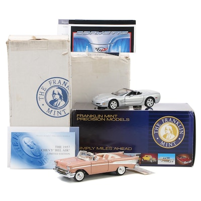 Franklin Mint Limited Edition 1:24 1957 Chevy Bel Air and 1998 Corvette