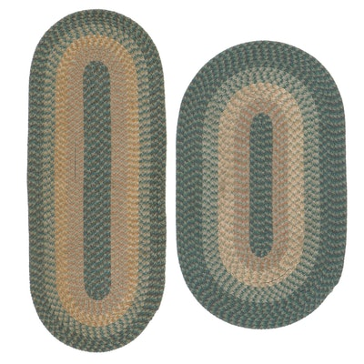 Handmade Braided Coil Accent Rugs, Late 20th Century