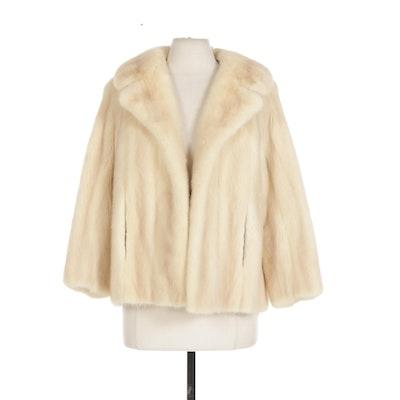Emba Natural Pale Rose Mink Fur Open-Front Swing Jacket with Bracelet Sleeves