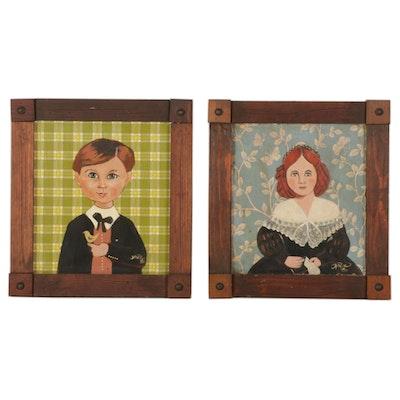 Folk Art Embellished Serigraphs of Child Portraits, 1980s