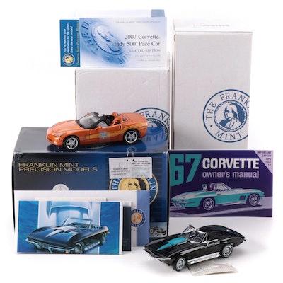 Franklin Mint 1:24 2007 Corvette Indy 500 Pace Car and 1967 Corvette