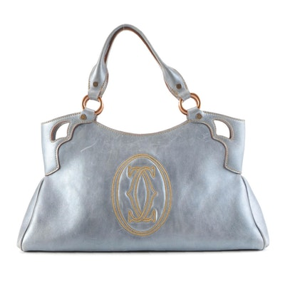 Cartier Small Marcello de Cartier Bag in Blue Grey Metallic Leather