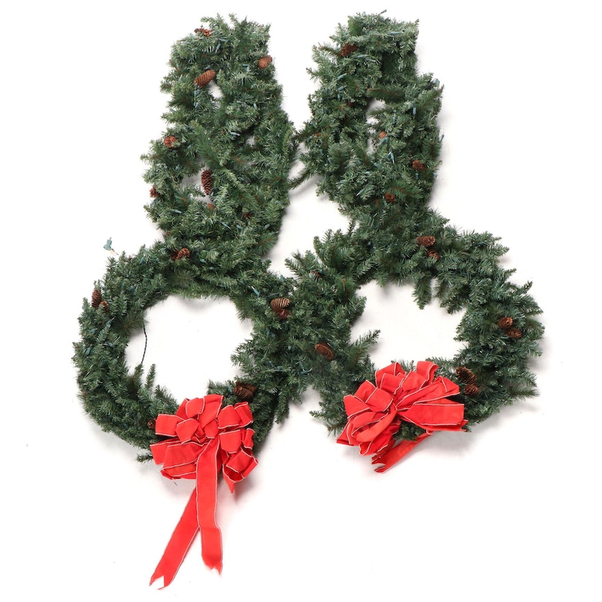 Frontgate Pre-Lit Outdoor Artificial Pine Garlands and Wreaths