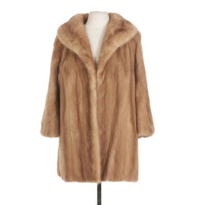 Pastel Mink Fur Open-Front Swing Coat with Shawl Collar and Bracelet Sleeves
