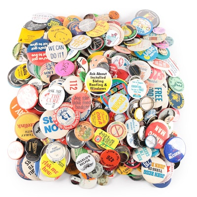 Pin Back Collection Featuring Pepsi Light, Coke and Woolworths, 1960s - 1990s
