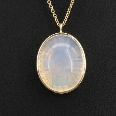 18K Opal Pendant Necklace