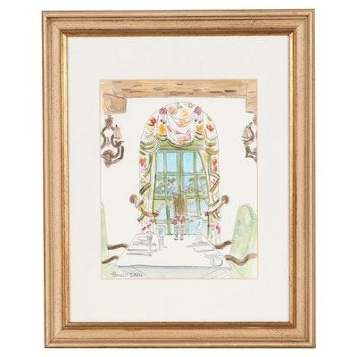 "Pamela Davis Ink and Watercolor Painting of Interior Scene ""100 Hudson"""