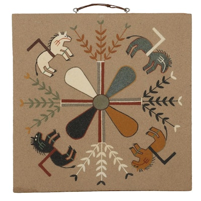 """J. A. Begay Navajo Sand Painting """"Home of the Buffalo Chant"""""""
