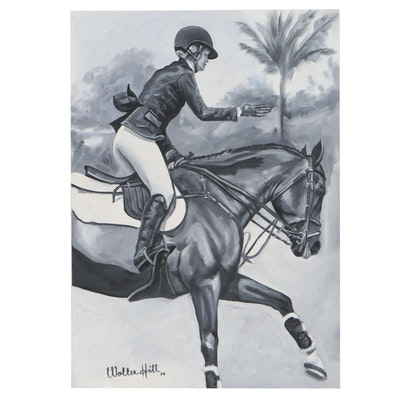Walter Hill Oil Painting of a Horse and Rider, 2021