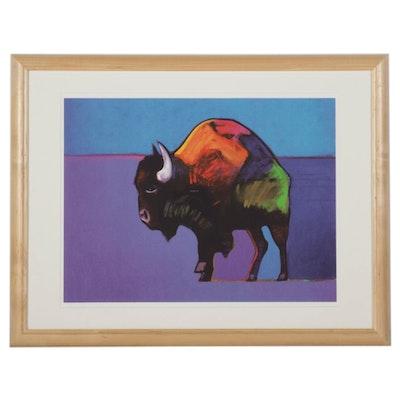 "John Nieto Serigraph ""Buffalo Dancing the Two-Step in the Sunset,"" 1996"