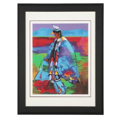 "John Nieto Serigraph ""Dancer at Taos Pow-Wow,"" 1996"