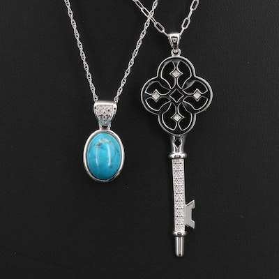 Sterling Key and Oval Pendant Necklaces Including Diamond, Topaz and Turquoise
