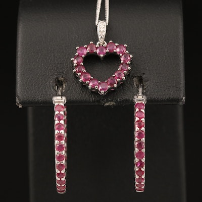 Sterling Inside-Out Hoop Earrings and Heart Necklace Including Ruby and Diamond