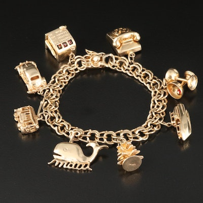 14K Enamel Charm Bracelet Featuring Articulated Charms