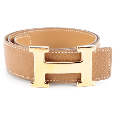 Hermès Constance Reversible Belt in Courchevel Leather with Gold Plated Buckle