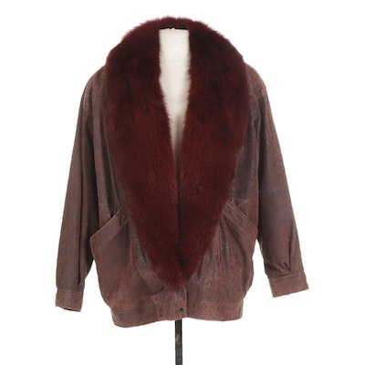 Textured Leather Jacket with Dyed Fox Fur Trim