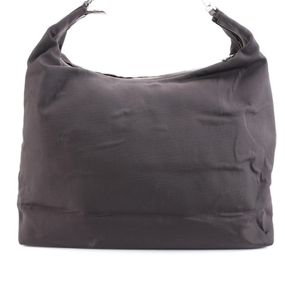 Gucci Large Hobo Shoulder Tote in Dark Brown Nylon Canvas and Leather