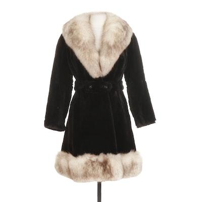 Fox Fur Trimmed Sheared Mink Fur Coat with Detachable Belt , Mid 20th C.