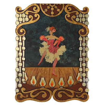 Shirley Tattersfield Acrylic Painting of Cabaret Dancer with Artist's Frame
