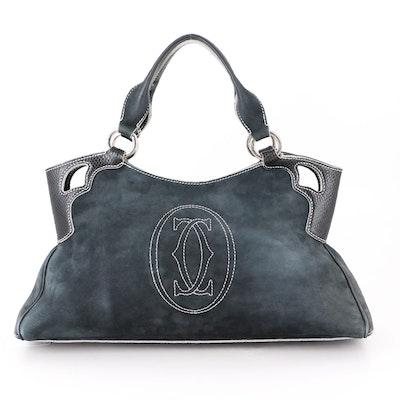 Cartier Marcello de Cartier Handbag in Suede and Embossed Leather