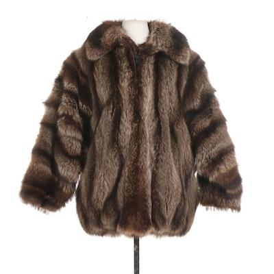 Full Pelt Raccoon Fur Dolman Sleeve Two-Way Zip Jacket, Mid to Late 20th Century