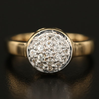 Sterling Zircon Dome Cluster Ring