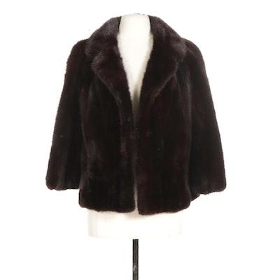Dark Mahogany Mink Fur Jacket with Wide Notched Collar