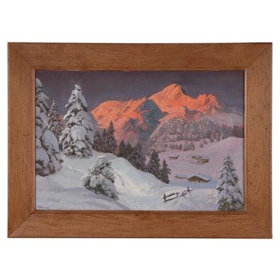 Alois Arnegger Winter Landscape Oil Painting, Mid-20th Century