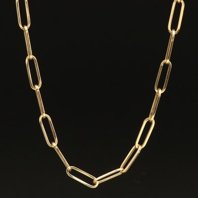 14K Elongated Cable Chain Necklace