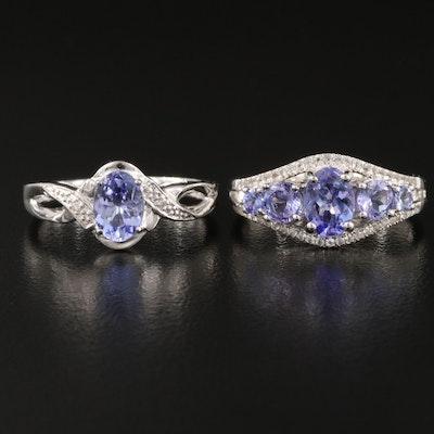 Sterling Tanzanite, White Topaz and Diamond Rings