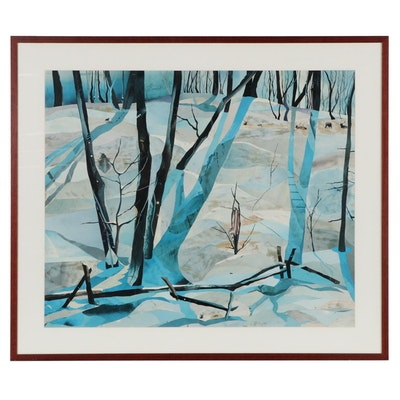 Cut Paper Collage of Stylized Winter Landscape